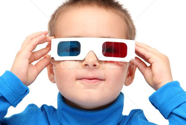 Stock fotó: Fiú · visel · 3d · szemüveg · arc · televízió · gyermek