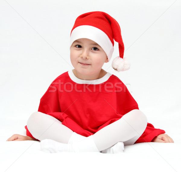 Güzel çocuk noel baba şapka arka plan portre Stok fotoğraf © nikkos