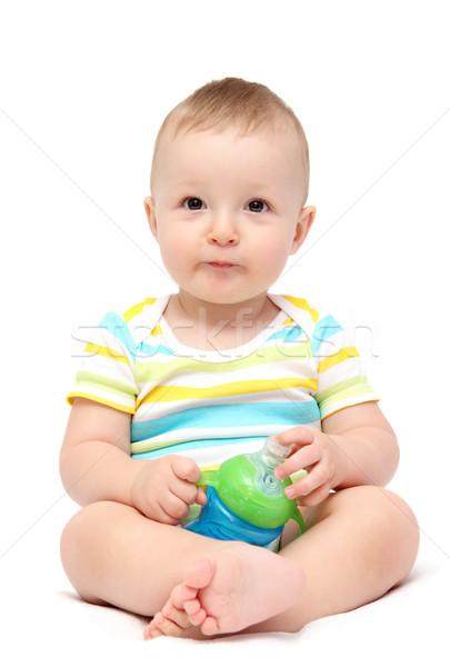 ребенка мальчика молоко бутылку счастливым Сток-фото © nikkos