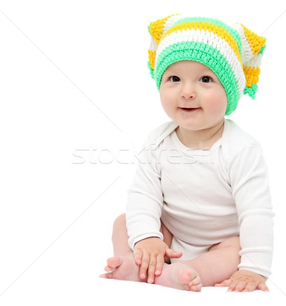 Güzel mutlu bebek erkek oturma beyaz Stok fotoğraf © nikkos