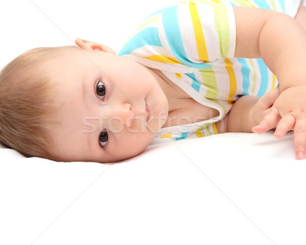 ребенка кровать улыбка глаза счастливым красоту Сток-фото © nikkos