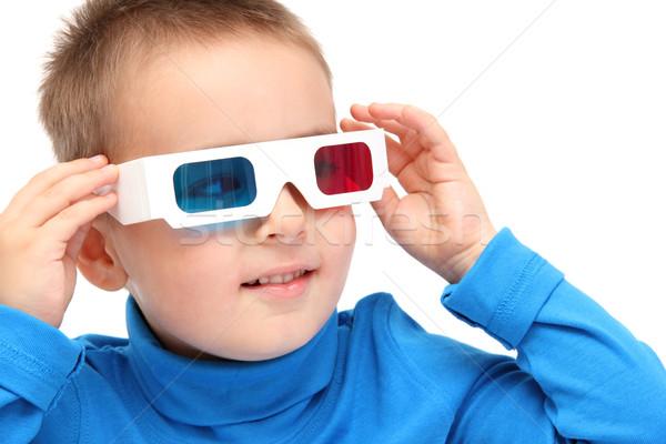 мальчика смотрят 3d очки лице телевидение ребенка Сток-фото © nikkos