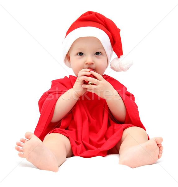 Cute Рождества ребенка фон портрет красный Сток-фото © nikkos