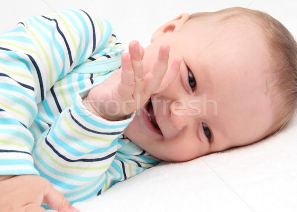 мало ребенка смеясь глаза счастливым моде Сток-фото © nikkos