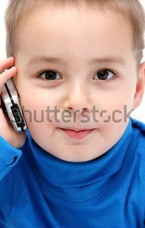 счастливым ребенка сотового телефона телефон синий мобильных Сток-фото © nikkos