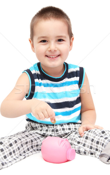 çocuk kumbara iş el mutlu eğlence Stok fotoğraf © nikkos