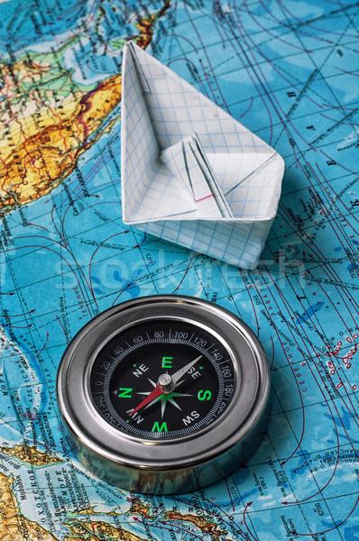 Verouderd mariene kompas kaart matroos textuur Stockfoto © nikolaydonetsk