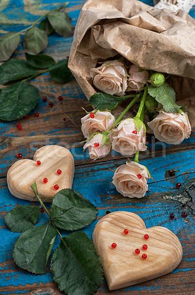 バレンタインデー 2 木製 中心 花束 新鮮な ストックフォト © nikolaydonetsk