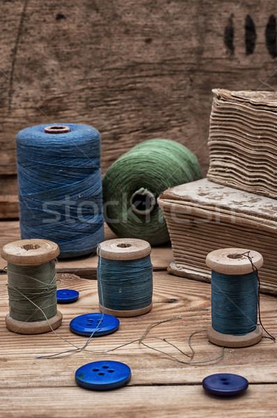 Dikiş makara iplik düğmeler bağbozumu stil Stok fotoğraf © nikolaydonetsk