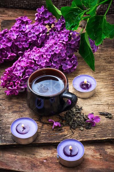 цветок чай ароматный весенний цветок сжигание свечей Сток-фото © nikolaydonetsk