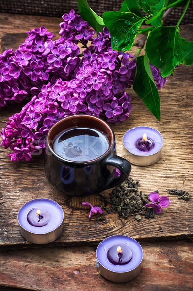 Bloem thee geurig lentebloem brandend kaarsen Stockfoto © nikolaydonetsk