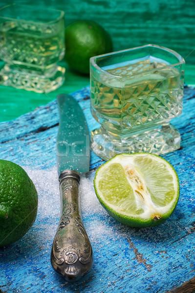 Koktél citrus üveg alkoholos ital gyümölcsök fából készült Stock fotó © nikolaydonetsk