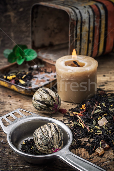 tea brew with lime and mint on wooden background  Stock photo © nikolaydonetsk