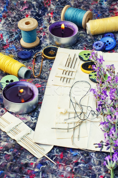 Set of seamstresses and bouquet of lavender Stock photo © nikolaydonetsk