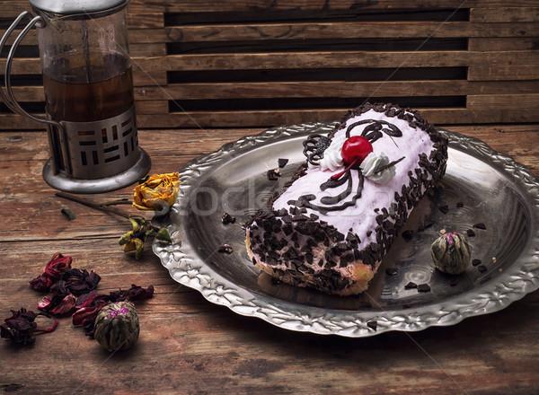 Sült desszert édes zsemle vasaló tálca Stock fotó © nikolaydonetsk