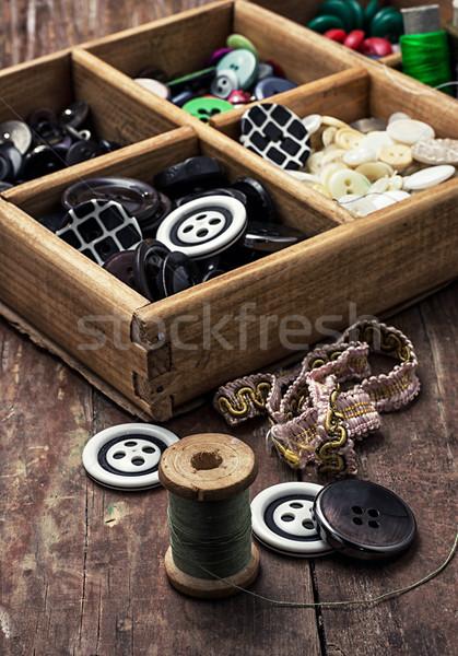 スレッド ボタン ツール 木製 画像 ヴィンテージ ストックフォト © nikolaydonetsk