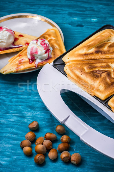 baked toast smeared ice cream in raspberry jam  Stock photo © nikolaydonetsk