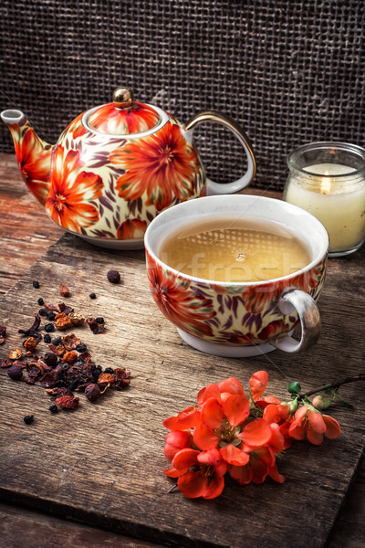 porcelain cup of fragrant tea for medicinal herbs in retro style Stock photo © nikolaydonetsk