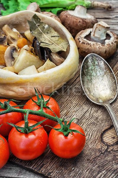 Vegetal quente prato cozinhado rústico Foto stock © nikolaydonetsk
