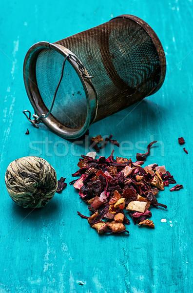 Bladeren thee turkoois houten water glas Stockfoto © nikolaydonetsk
