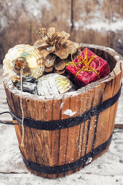Natale regalo vasca decorazioni decorativo legno Foto d'archivio © nikolaydonetsk