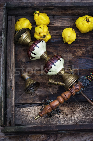 Ancora vita retro narghilè mele cotogne legno Foto d'archivio © nikolaydonetsk