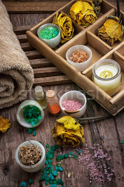 wooden box with accessories for Spa treatments Stock photo © nikolaydonetsk