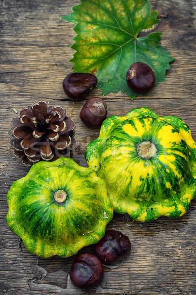 静物 秋 スカッシュ 収穫 松 木製のテーブル ストックフォト © nikolaydonetsk