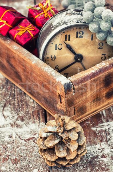 Retro arrangement christmas oude wekker verouderd Stockfoto © nikolaydonetsk