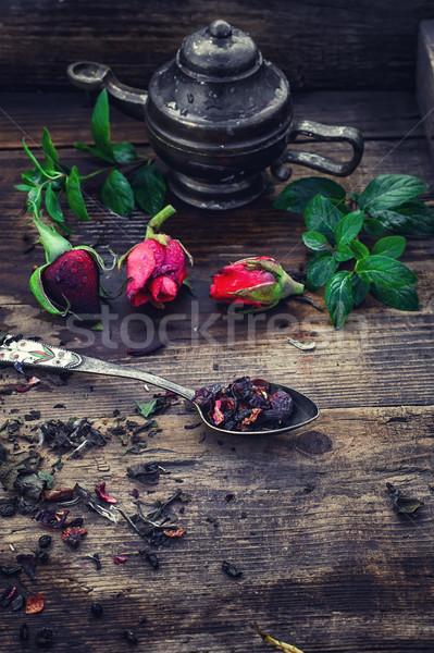 Kokulu çay şık kaşık Stok fotoğraf © nikolaydonetsk