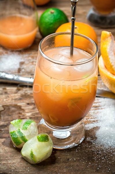 glasses fresh orange juice Stock photo © nikolaydonetsk
