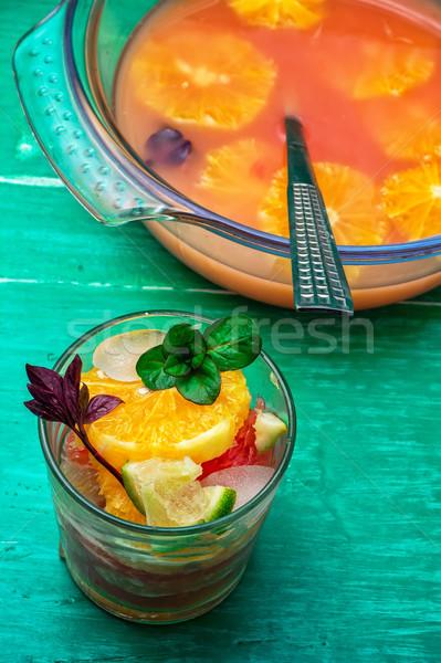 Vers tropische vruchten glas drinken vers natuur Stockfoto © nikolaydonetsk