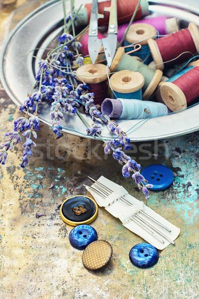 Lavendel ingesteld knoppen draad gesneden Stockfoto © nikolaydonetsk