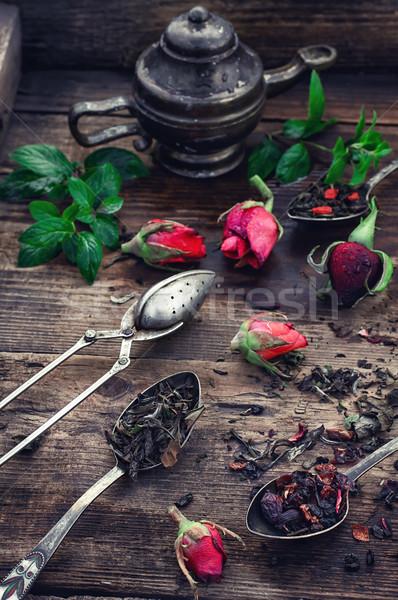 Illatos tea főzet elegáns kanalak választék Stock fotó © nikolaydonetsk