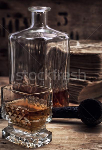Alkoholos ital whiskey üveg klasszikus stílus fa Stock fotó © nikolaydonetsk