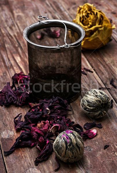 茶 葉 異なる 木製 花 食品 ストックフォト © nikolaydonetsk