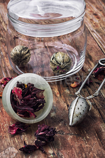 brewed leaf tea in glass jar Stock photo © nikolaydonetsk