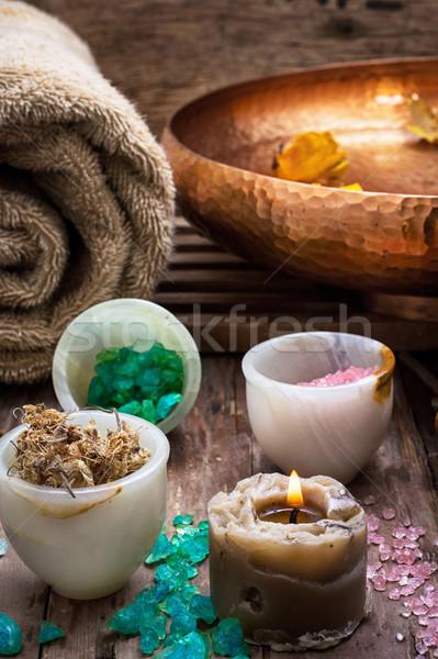 Bronz tál víz kellékek fürdő tengeri só Stock fotó © nikolaydonetsk