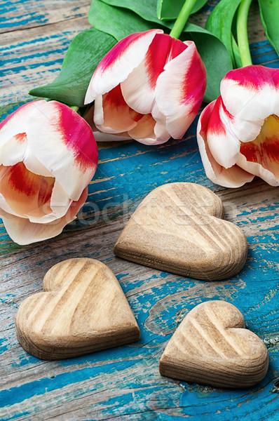 три сердце букет тюльпаны символический Сток-фото © nikolaydonetsk