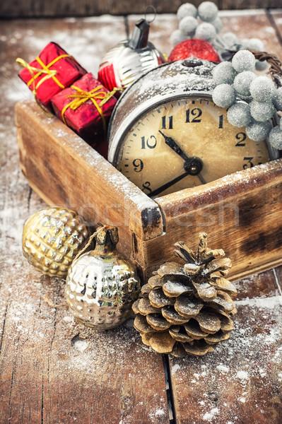 Рождества украшения старые часы окна Сток-фото © nikolaydonetsk