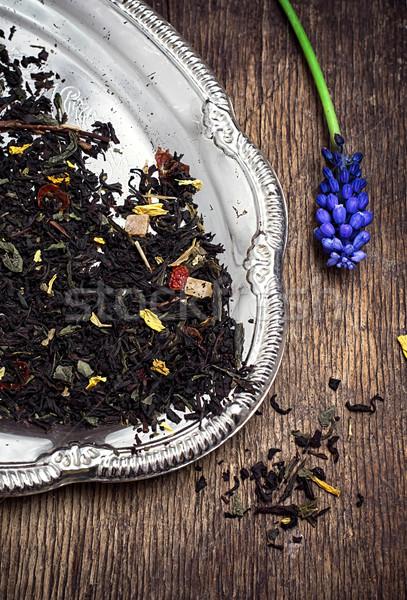 Tea főzet levelek asztal vidék virág Stock fotó © nikolaydonetsk