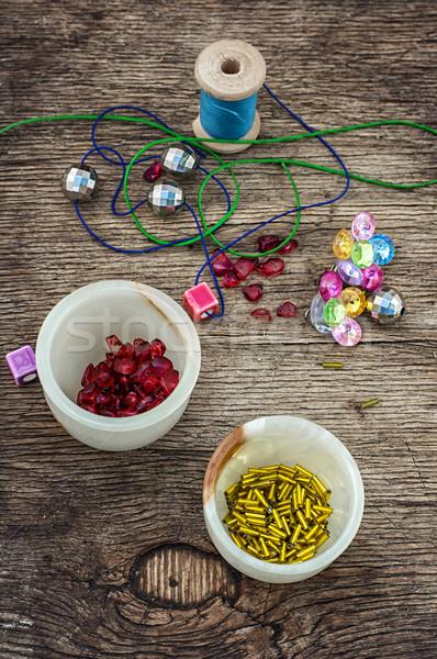 セット 裁縫 ビーズ 木製のテーブル ツール ファッション ストックフォト © nikolaydonetsk