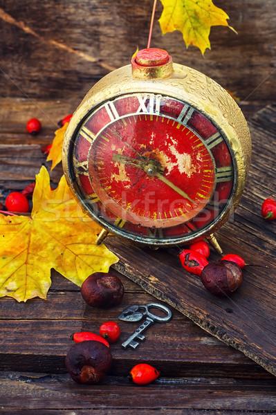 秋 静物 目覚まし時計 カエデの葉 クロック 葉 ストックフォト © nikolaydonetsk