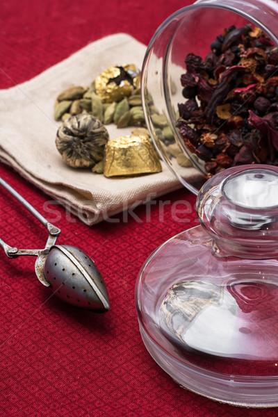 Té rojo mantel natillas retro cuchara Foto stock © nikolaydonetsk