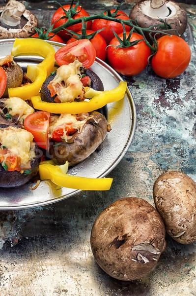 фаршированный грибы легкий закуска продовольствие сыра Сток-фото © nikolaydonetsk