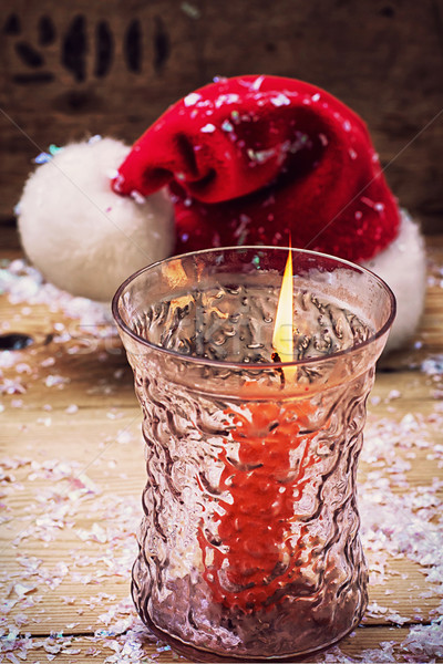 Christmas bell and candle Stock photo © nikolaydonetsk