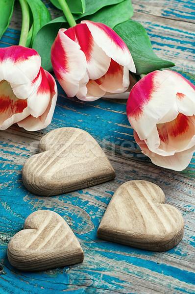 3  木製 中心 花束 チューリップ シンボリック ストックフォト © nikolaydonetsk