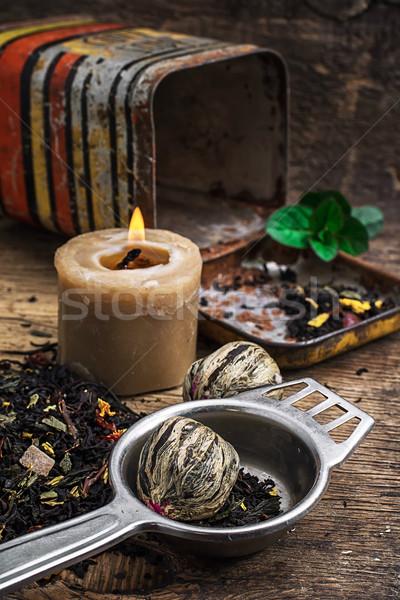 Tea főzet citrus menta fából készült égő Stock fotó © nikolaydonetsk