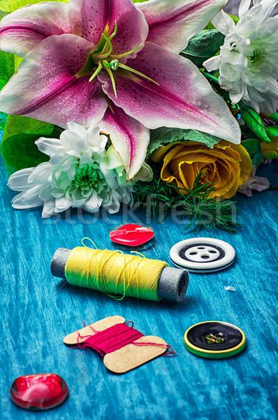 スレッド ボタン ミシン 花束 新鮮な ストックフォト © nikolaydonetsk