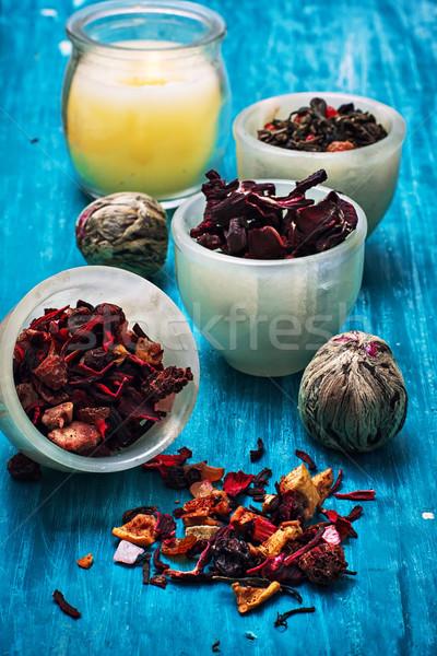 Tea főzet aszalt illatos levelek fából készült Stock fotó © nikolaydonetsk